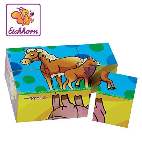 Eichhorn 100005481 - Bilderwürfel Klein, 6 Motive mit 6 Bausteinen, 6-tlg., 10,5x7cm