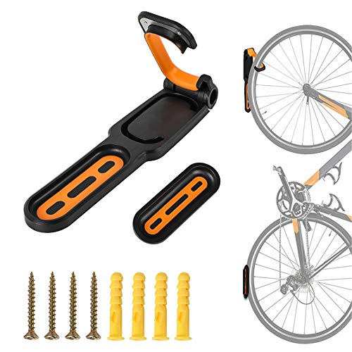 Soporte De Pared Con Gancho De Pared Para Bicicletas, Estante De Almacenamiento De Bicicletas Interior Plegable, Para Uso En Interiores, Estante De Exhibición De Bicicletas De Garaje negro y naranja