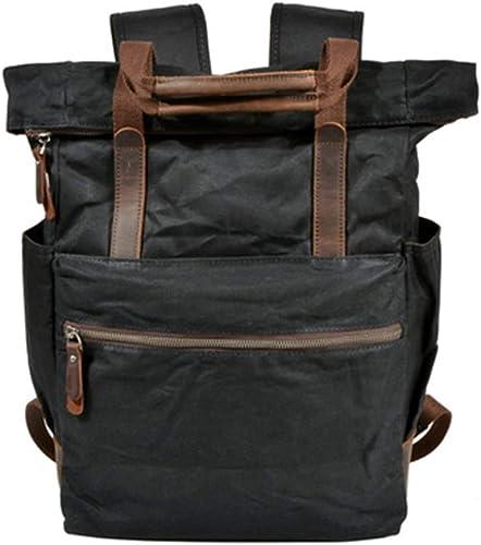 FRWE Sac à dos imperméable à l'eau de cire d'huile sac de toile sac occasionnel en plein air grande capacité sac à dos rétro sac hommes