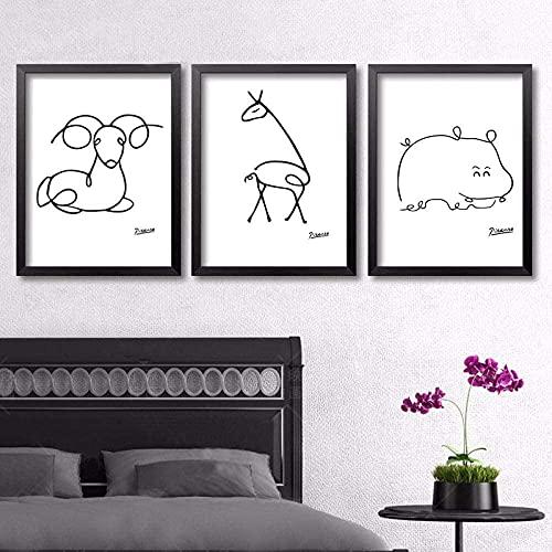 XIAOMA Lienzo abstracto, línea de animales, dibujo artístico y Pablo Picasso, pintura en blanco y negro, póster de arte de pared, decoración de pared, sin marco (3 x 30 x 50 cm) ⭐