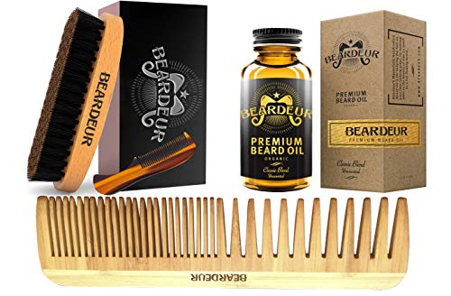 BEARDEUR Premium Master Beard Kit, Boar Bristle Brush, Beard Comb, Small Mustache Comb, Conditioner Oil for Facial Hair, Perfect Grooming Kit - Great Gift Idea For Every Man