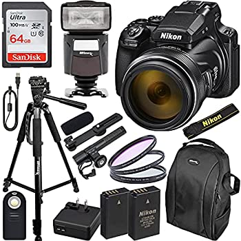 Nikon COOLPIX P1000 Digital Camera with Essential Accessory Bundle - Includes  SanDisk Ultra 64GB SDXC Universal Speedlite with LED Video Light Seller Supplied Replacement Battery & Much More