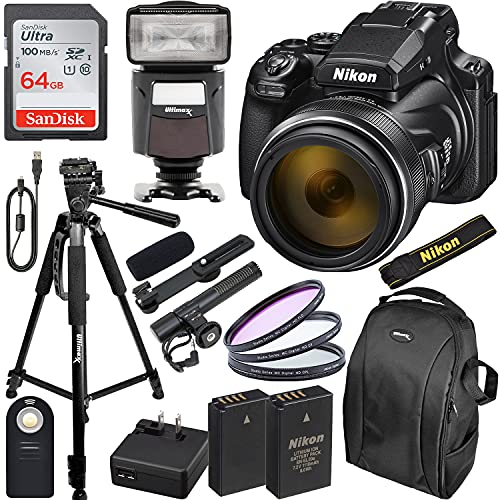 Nikon COOLPIX P1000 Digital Camera with Essential Accessory Bundle - Includes: SanDisk Ultra 64GB SDXC, Universal Speedlite with LED Video Light, Seller Supplied Replacement Battery & Much More