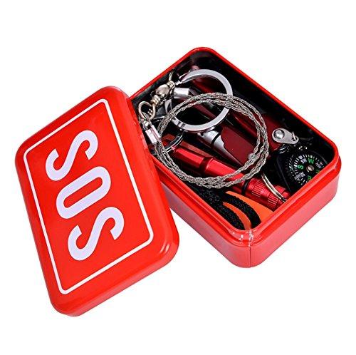 ZENDY Trousse d'urgence/kit de Survie, équipement d'urgence, Pinces à Outils Multiples avec Fil Lampe de Poche a vu/Outil d'allumage/Boussole/Coup de sifflet d'urgence/de Poche (Kit01)