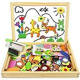 COOLJOY Puzzle Magnetico Legno, Giocattolo di Legno con Lavagna Double Face Graffiti, Educativo Regalo per Bambini 3 Anni su, Quasi 100 Parti Colorate (Animale)