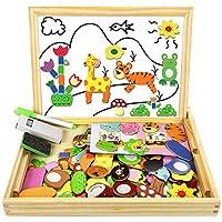 ★【Un Grande Giocattolo Educativo per i Bambini】- Puzzle Magnetico Bambini Con più di 100 pezzi del puzzle (Temi animali tra cui tigri, giraffe, leoni, cuccioli, insetti, piante) e 1 penne per lavagna bianca, i bambini possono progettare quadro divers...