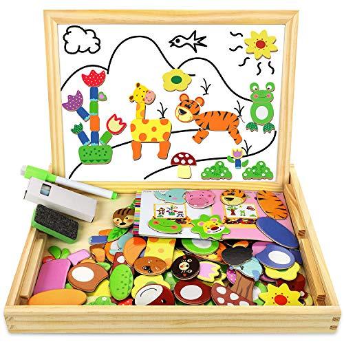 COOLJOY Puzzle Magnetico Legno, Giocattolo di Legno con Lavagna Double Face Graffiti, Educativo Regalo per Bambini 3 Anni su, Quasi 100 Parti Colorate