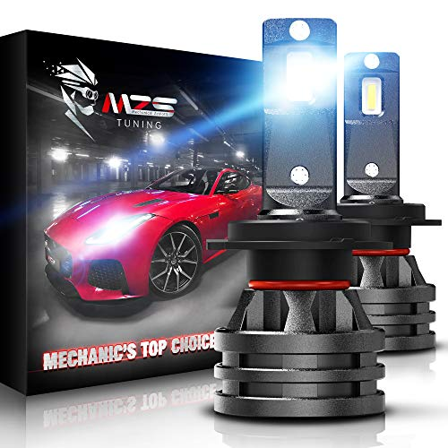 MZS Mini H7 LED Headlight Bulbs,10000LM 6500K Cool White CREE Chips All-in-One Conversion Kit w/360 Degree Adjustable Beam