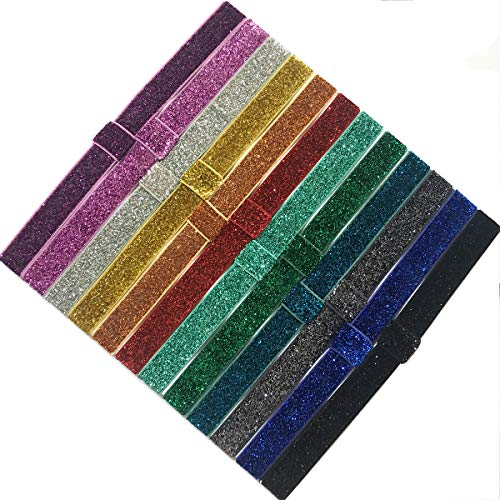 Yazon 12pcs Baby Girls Glitter Headbands 5/8 inch Sparkly Stretch Headbands Elastic Hair Bands for Toddler …