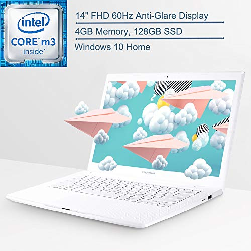 2019 ASUS ImagineBook MJ401TA 14' FHD Laptop Computer, Intel Core m3-8100Y up to 3.4GHz, 4GB Memory, 128GB SSD, HDMI, Textured White, Windows 10 Home