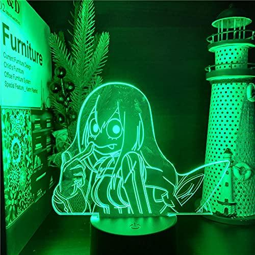 Luz nocturna LED 3D, ilusión de anime, figura de Boku sin héroe, academia Fropppy Asui Tsuyu Nightlights Mi héroe, luz visual, lámpara para regalo de Navidad, control remoto