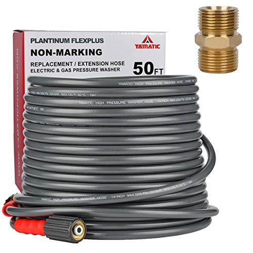 YAMATIC Flex+ Improve Pressure Washer Extension Hose 3200PSI, 50 FT X 1/4'' Power Washer Hose with M22 14mm Male Coupler