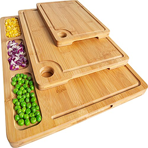 Bamboo Cutting Boards for Kitchen, (Set of 3) Kitchen Chopping Board with 3 Built-In Compartments and Juice Groove Heavy Duty Serving Tray Wood Butcher Block and Wooden Carving Board with Hole