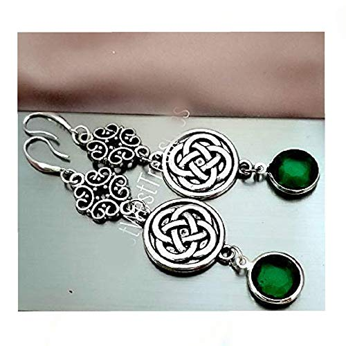 Irish Celtic Jewelry Gift for Women, Celtic Cross Knot Necklace and Earrings Set, Scottish Irish Celtic Jewelry Gift, Emerald Green