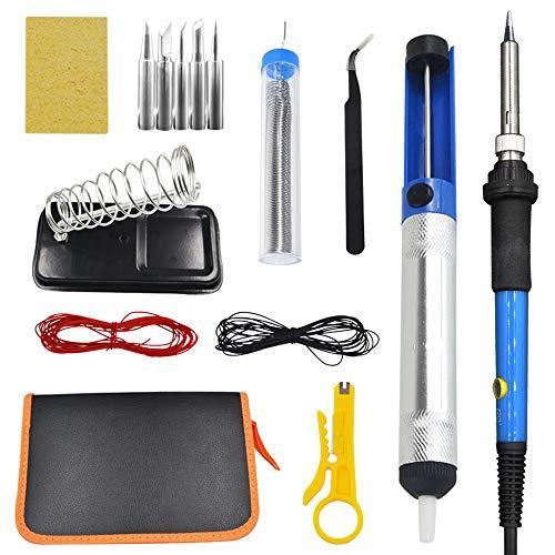 DjfLight 15 Stücke Lötkolben Kit, Einstellbare Temperatur Löten Brennen Brandstift Werkzeuge Beste für Löten, Elektrische Lötkolben Carving Brandwerkzeug Set