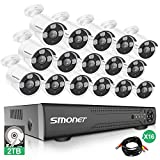 【More Stable】 SMONET 16 Channel Video Surveillance System,5-in-1 5MP Security Camera Systems(2TB Hard Drive),16pcs 1080P Indoor Outdoor Home Security Cameras,DVR Kits with Night Vision,Remote View