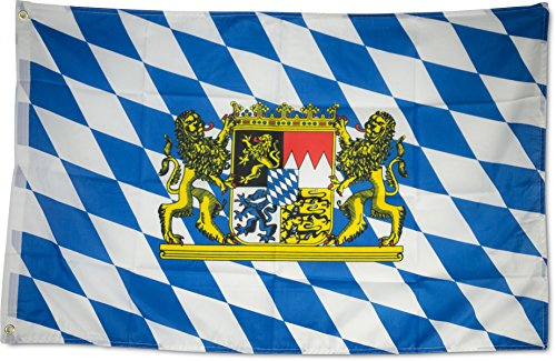 SCAMODA Bundes- und Länderflagge aus wetterfestem Material mit Metallösen (Bayern-Wappen) 60x90cm