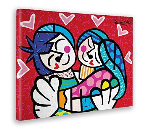 Giallobus - Schilderij - Afdrukken op Canvas - Romero Britto - Grote knuffel - 70 X 100 Cm