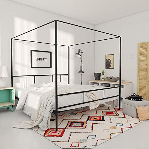 Novogratz Marion Canopy Bed Frame, Black, King
