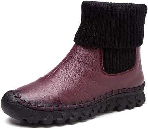 Gaslinyuan Slip on botas zapatos de Tobillo de Invierno de Piel Plana (Color   rojo, tamaño   EU 41)