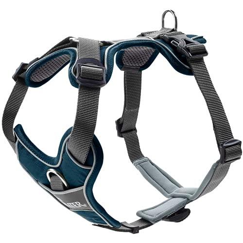HUNTER DIVO Hundegeschirr, Nylon, gepolstert mit Mesh-Material und Neopren, ergonomisch, reflektierend, L, dunkelblau/grau