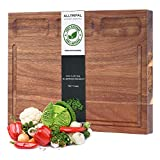 Organic Acacia Wood Cutting Board-Reversible Multipurpose Cutting Board For Kitchen-16x11 inch Juice Groove & 3 Cracker Holder
