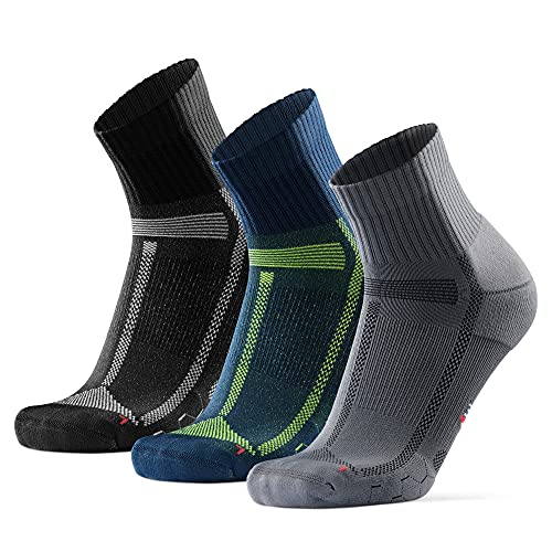 DANISH ENDURANCE Calcetines de Running para Largas Distancias, para Hombre y Mujer Pack de 3 (Multicolor (1 x Negro/Gris, 1 x Gris/Negro, 1 x Azul/Amarillo), EU 39-42)