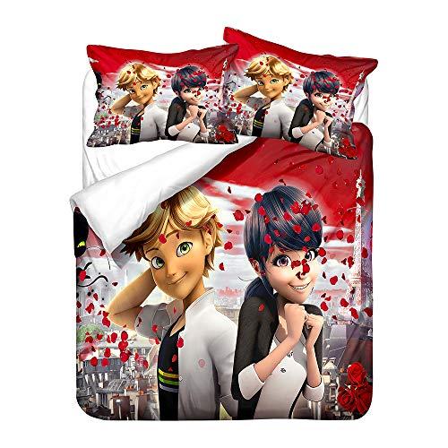 Meiju Duvet Cover Set 3 pieces for Single Double King Bed, 3D Printed Microfiber Bedding Set Duvet Cover Bedroom Duvet Set with Duvet Cover and Pillowcases (Ladybug 4,Single - 135x200cm)
