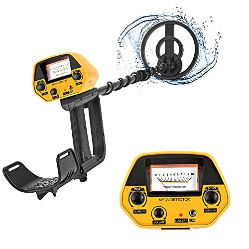 ETE ETMATE Metal detector impermeabili con LCD e jack per auricolari, 2 modalità, All Metal e Pinpoint Bobina di ricerca da 2 libbre 7,8 pollici per adulti e bambini Metal detector