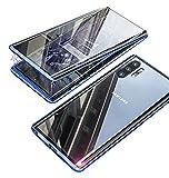 Funda para Samsung Galaxy Note 10 Plus/Note 10+ Magnetica Adsorption Metal Carcasa,360 Grados Delantera y Trasera Vidrio Templado Transparente Cover,Metal Flip Cover Anti Choque Case,Azul