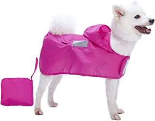 Blueberry Pet 2019 New 4 Colors Lightweight Water Repellent Packable Dog Rain Poncho with 3M Reflective Safety Tapes for Small Dogs
