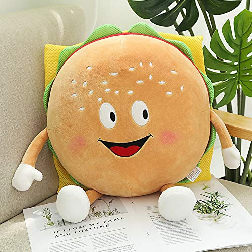 HMMJ Net Red Eating Pillow,Simulation Food Hamburger Fries Pizza Plush Toy, Girl Heart Cushion for Children and Adults of All Ages (Color : Burger, Size : L)