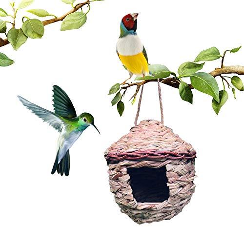 Maison D'oiseau De Paille Suspendus en Plein Air Cabane Naturelle d'oiseaux en Plein Air, Birdhouse Winter Bird House pour Extérieur Suspendu
