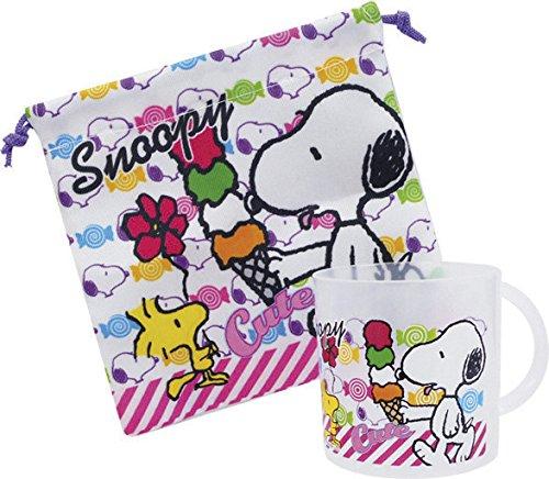 Sanyoudou Peanuts Snoopy Plastic Cup & Cup Purse Set Snoopy & Ice Cream