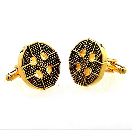 Lzcaure Paire de boutons de manchette ronds sculptés pour la Saint Valentin, un anniversaire, un mariage, Métal, doré, Taille unique