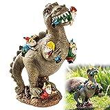 AMZBEST Dinosaurier Essen GNOME Garten Statue, Das Große Garten GNOME Massaker, Lustige Harz Figuren Garten Gnom Für Party Home Patio Rasen Garten Dekor (L)
