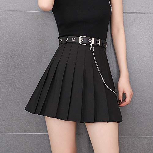 Mini Falda Mujer,Falda Corta Plisada para Mujer Cintura Alta Una Línea Falda De Bolsillo Acampanada Moda Sexy Estilo Punk Falda De Tenis Skater para Niñas Vestido Escolar con Cinturón