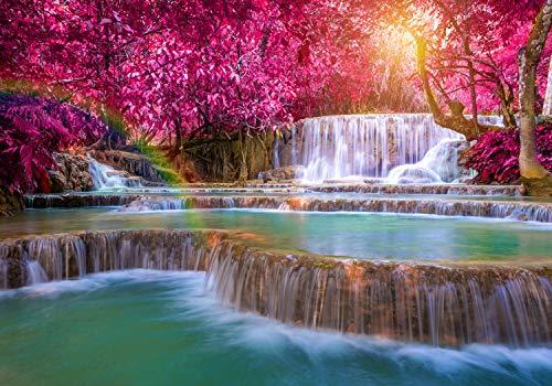 decomonkey Fototapete Wasserfall 250x175 cm XL Design Tapete Fototapeten Vlies Tapeten Vliestapete Wandtapete moderne Wand Schlafzimmer Wohnzimmer Regenbogen Natur Landschaft