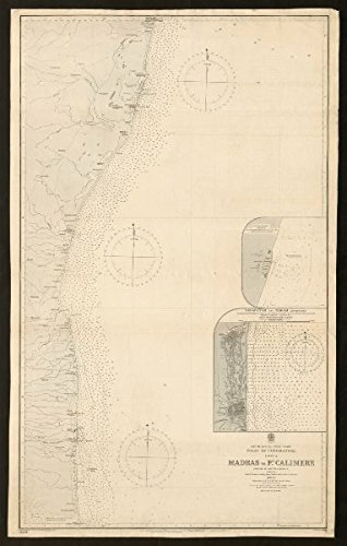 Coromandel coast nautical sea chart. Madras. Tamil Nadu. Admiralty - 1885 - old map - antique map - vintage map - printed maps of India