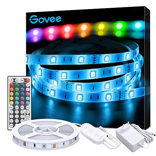 Tiras LED, Govee Luces LED RGB 5050 con Control Remoto de 44 Botones y Caja de Control, 150 Tira LED 20 Colores 8 Modos y DIY para la Habitación, Dormitorio, Techo, 12V