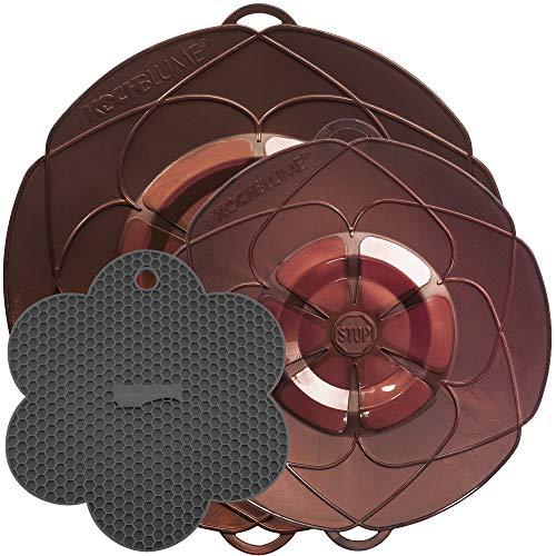 Kochblume Profi-Set für Töpfe von 14 bis 28 cm mit Bionic Multipad als Set in der pinken Box | Silikon Überkochschutz und Untersetzer/Topflappen (Kupfer)