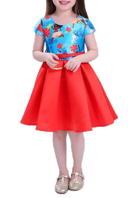 (ウォ2U)Woo2u キッズ 女の子 可愛い 春夏 赤色 半袖 花柄 ひざ丈 三五七 入学式 姫様 子供洋服 パーティー カジュアル お呼ばれ 通勤 ワンピース フォーマルドレス