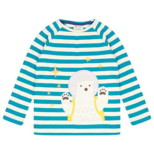 Piccalilly T-shirt à manches longues pour enfant Motif ours polaire Bleu sarcelle - Bleu - 6-12 mois