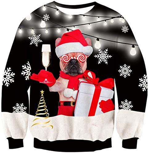 Rave on Frifay Maglione di Natale 3D Unisex Maglione con Design Personalizzato per Cani Maglione con Maniche Lunghe Idea Regalo di Natale per Uomo L