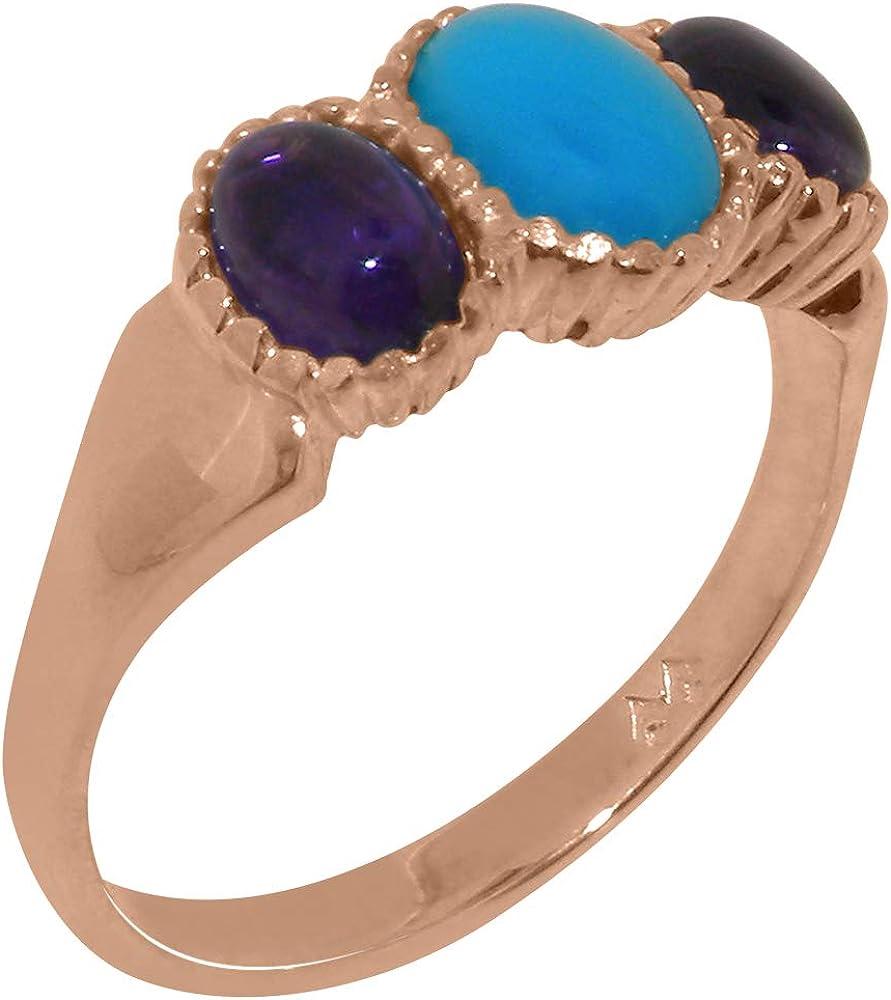 Over item handling 14k Rose Gold Natural Turquoise Trilogy Japan Maker New Amethyst Ring - Womens