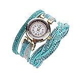 BiCophy Damen Kristall Uhr Gold Armband Quarz Armbanduhr Strass Uhren (Blue)