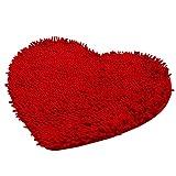Gosear-Felpudo de Alfombra de baño/Cojín del Piso de Chenille mullida para Dormitorio(En Forma de corazón,Roja)
