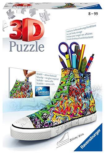 Ravensburger 3D Puzzle 12535 Sneaker Graffiti - Praktischer Stiftehalter - 108 Teile - Schreibtisch-Organizer für Kinder ab 8 Jahren