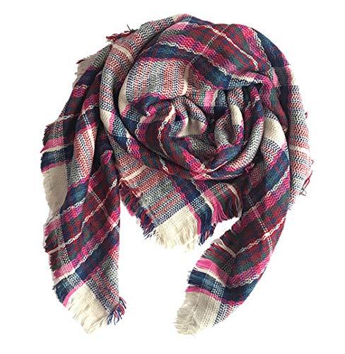 K T One Kids Girls Boys Warm Tassels Plaid Scarf Winter Ski Wrap Shawls for Children