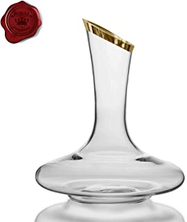 Royal Freedom Wine Decanter- 100% Crystal Glass, Thick Hand Blown & Lead Free, Gold Tip, Red Wine Carafe, Wine Accessories, Wine Gift, Wide Base, 1800 ml.